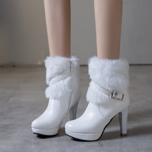 Wholesale Big small size to white fur boots keep warm winter bridal wedding shoes beige black come with box