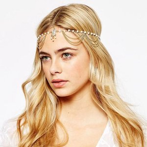 Wholesale headpiece fashion Hair Decoration Fashion Indian Boho Gold Head Chain Pearl Crystal Head Dress Headpiece For Women Hair Jewelry