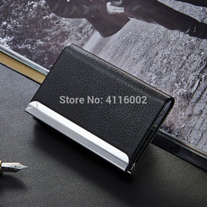 200pcs Business ID Credit Card Holder For Women Men Fashion Metal PU Leather Card Case Travel Card Wallet