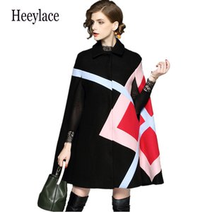 New 2019 Fashion Women Winter Jacket Geometric Pattern Batwing Sleeve Woolen Warm Cloak Ponchos Cape Coat Wool Blends Outerwear