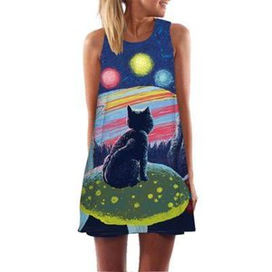 Wholesale Colorful Geometric Feather Printed D Dress Women Sleeveless O Neck A Line Mini Dress Robe Sexy Boho Beach Style Summer Dress