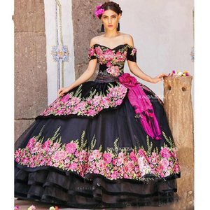 Wholesale Black Embroidered Ball Gown Quinceanera Dresses Off The Shoulder Neck Beaded Tiered Sweet Dress Sweep Train Organza Flower