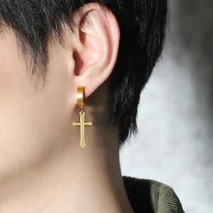 Wholesale Punk Men Stainless Steel Cross Earrings Simple Gold Black Silver Color Men's Hoop Earring Fashion Motor Biker Rock Party Jewelry