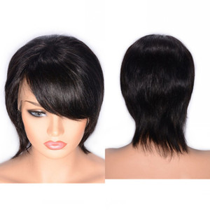 Wholesale side part short hair black women resale online - Short Straight Human Hair Wig Peruvian Lace Front Wig inch Side Part Virgin Hair Wigs for Women