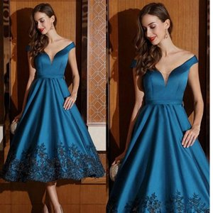 Wholesale Teal Blue Black Lace Appliques Evening Dresses A Line Off Shoulders Tea Length Short Prom Formal Gowns special occasion cocktail party cheap