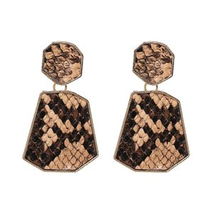 New 2019 Japanese and Korean cool wind earrings snakeskin printed earrings sell well simple and versatile earrings free of shipping