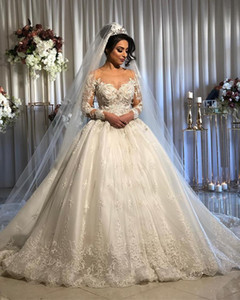 Princess Lace Beaded 2019 Arabic Wedding Dresses Sheer Neck Long Sleeves Tulle Bridal Dresses Sexy Vintage Wedding Gowns