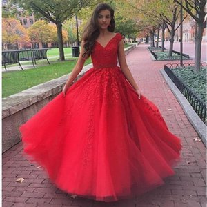Wholesale Red A Line Quinceanera Dresses New V Neck Tulle Lace Appliques Beaded Belt Long Sweet Party Gowns For Girls Formal Prom Dresses
