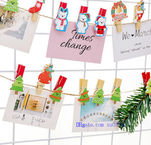 2018 Cute Cartoon Christmas Wooden Clips Set Mini Decorative Clips with Rope Colorful Picture Clip for Photo Frame Wall Decoration Kids Love