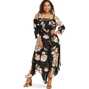 Wholesale Ships From US Fast delivery Cold Shoulder Plus Size Floral Maxi Handkerchief Casual Dress Party Evening Dresses
