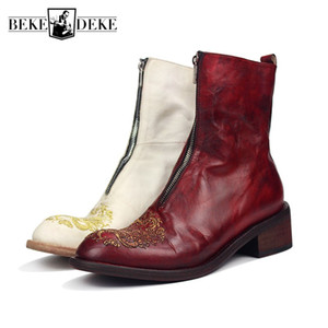 Wholesale Luxury Runway Mens Cowhide GENUINE Leather Boots Block High Heels Riding Boots Handmade New Dragon Embroidery Shoes Knight