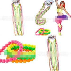 Wholesale Colorful Beads Chain Dancing Party Neon Bead Necklace Real Color Neon Connected Plastic Bracelet Hot Selling ap L1