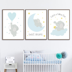 Wholesale piece wall poster picture for sale - Group buy 3 Piece Elephant Poster Animals Kids Room Pictures Nursery Wall Art Canvas Painting for Boys Bedroom Prints Baby Room Gifts Unframed
