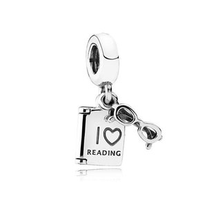 Wholesale l Love Reading Charm Open Book 925 Sterling Sliver Bead Charm fit Pandora Bracelets for Women Jewelry