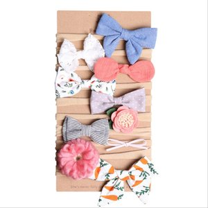 Wholesale Cute Baby hair accessories Hair Bows Nylon Headband Photography Lace Floral Denim Birthday gift card for Boutique store