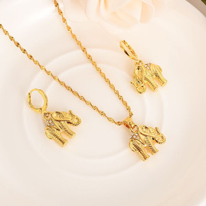Wholesale Africa k Solid Gold Filled cute CZ Elephant Necklace earrings Trendy women Men Jewelry Charm Pendant Chain Animal Lucky