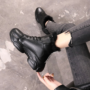 Wholesale Snow boots for female thick soled cotton shoes woman plus velvet platform waterproof ladies black white ankle boot