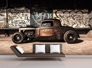 Wholesale 3d cars wallpaper for room resale online - Custom photo d wallpaper Vintage graffiti cars tv background wall living room Home decor d wall murals wallpaper for wall d