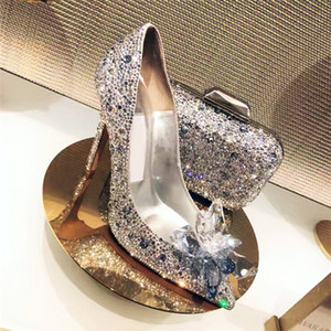 Wholesale Women Celebrity Grade Cinderella Crystal High Heels Pumps Bridal Rhinestone Wedding Shoes Sexy Pointed Toe Crystal Flower Pumps