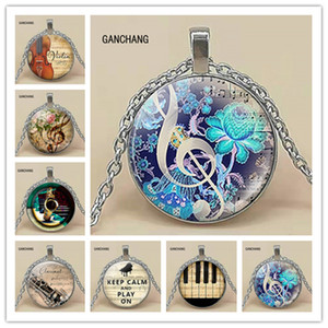 Wholesale 3 color fashion piano notes guitar music DIY convex round glass pendant necklace handmade jewelry necklace accessories