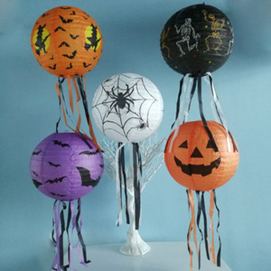 Wholesale lantern festivals for sale - Group buy Round Halloween Paper Lanterns Ghost Festival Three Dimensional Fold Pumpkin Bat Lampion Atmosphere Prop With Various Patterns cy5 J1