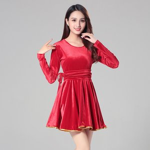 Wholesale New square dance dance clothing suit autumn and winter gold velvet dress Latin fitness costume women