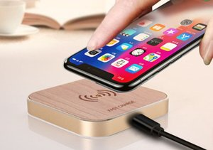 Wholesale New Smart Qi Wood fast Wireless Charger Charging Pad for Samsung Galaxy S8 S7 Note for iPhone X Plus