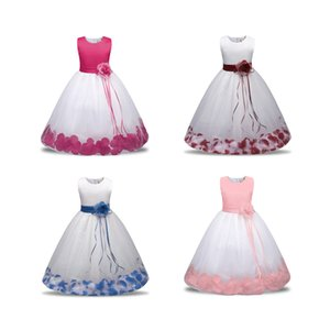 Kids Sleeveless Flower Dress Baby Girl Designer Clothes Baby Toddler Princess Dress Petal Puffy Skirt Children Wear 19
