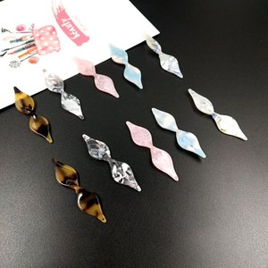 Wholesale New style color pattern print geometry rhombus bow shape acrylic acetic acid beads charms diy jewelry earrings pendant accessory