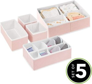 Wholesale baby dresser for sale - Group buy Soft Fabric Dresser Drawer and Closet Storage Organizer Set for Child Baby Room or Nursery Set of Organizers Pink