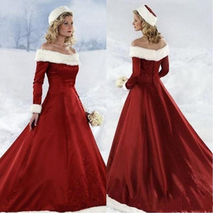 Wholesale 2020 Hot Long Sleeve Red Christmas dresses winter A-line Long Dresses Off-shoulder Satin Christmas Celebrity Dresses