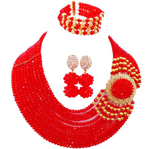 Wholesale On Sale Red African Style Crystal Beads Party Necklace Earrings Bracelet Sets for Ladies C DPH