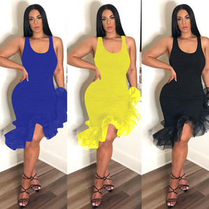 Wholesale Women Latin Dancing Party Sexy Vest Skirt Mid calf Length Ruffles Dress Irregular Organza Fishtail Hem Sleeveless Strap Dresses New C425