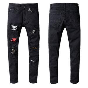 Designer Jeans Men's Black Denim Straight Biker Skinny Jeans Casual Trousers Cowboy Famous Brand Zipper biker Hot Sale Mens Jeans