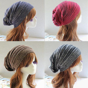 Wholesale slouch beanie resale online - Women Warm Knitted Hats Fashion Soft Stretch Slouch Skull Beanies Cap Outdoor Lady Winter Travel Ski Cap TTA1464