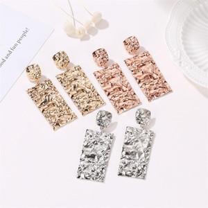 Geometric Earrings Luxury Color Silver Gold Rectangle Earring for Women Party Jewelry Gift Fashion Big Long Metal Earrings