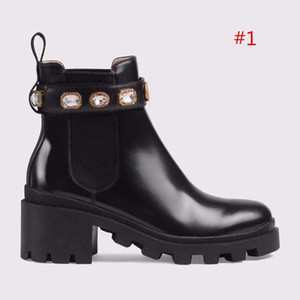 2019 High Quality Womens Leather Shoes Lace Up Ribbon Belt Buckle Ankle Boots Factory Direct Female Rough Heel Round Head Size:35-42
