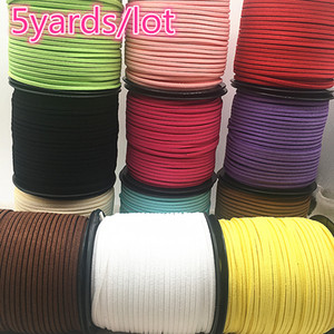Wholesale 5yards mm Flat Faux Suede Braided Cord Korean Velvet Leather Handmade Beading Bracelet Jewelry Making Thread String Rope