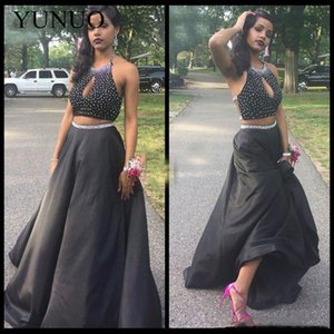 YuNuo Modest Two Pieces Black Prom Dresses 2019 Halter Keyhole Neck Beaded Sexy A Line Satin Evening Party Gowns Formal N14