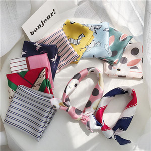 New Style women scarf silk feeling hair neck scarves square brand office Printing Hotel Waiter Flight Attendants Handkerchief rings