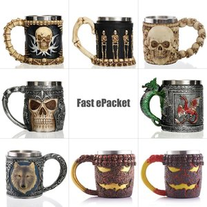 Wholesale Personalized Skull Mug Double Wall Stainless Steel Knight Tankard Dragon Drinking Tea Beer Coffee Cup Caneca Viking Gift For Men Q190430