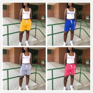 Wholesale Women Champions Letter Sleeveless T Shirt Vest Pants Summer Tracksuit Outfits Piece Set Sportswear Sports Clothing Suits A4801