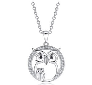 Wholesale New Zircon Pendants Owl Necklace For Women Crystal Sliver Color Necklaces Fashion Jewelry Clothing Accessories Gift