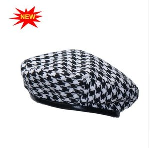 Wholesale New autumn winter Plaid Beret Hats For Women French Berets Fashion Female Houndstooth Berets Black Berets With Adjustable Rope