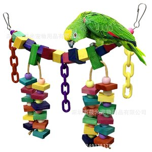 Wholesale Parrot Gnaw Toys Colour Wood Chain Soft Bridge Suspension Bridge Parrot Toys Bird Swing Scaling Ladder 280g