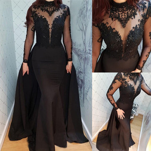 Wholesale Vintage Black Embroidery Evening Dresses Fashion Design Neck Sheer Long Sleeve Mermaid Prom Pageant Celebrity Dresses With Train