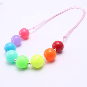 Wholesale Solid Neon Color Baby Kid Chunky Necklace Adjusted RopeToddlers Girls Bubblegum Bead Chunky Necklace Jewelry Gift For Children