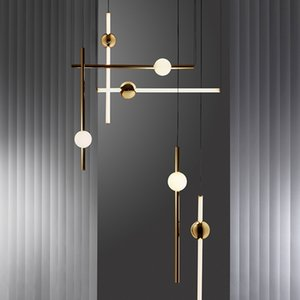 Wholesale Minimalist Gorizontal Version Vertical LED Chandelier Lights Metal Glass Tube For Dinning room Bar Cafe Tea Shop