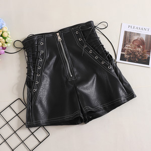2018 Autumn New Black Strap Leather Shorts Womens Simple Leisure High Waist Wide Leg Short Trousers Ladies Boots Shorts
