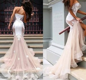 Sexy Mermaid Prom Dresses Long Lace Tulle Evening Dresses Special Occasion Dresses Sweetheart White Organza Ruffles Tiered Sweep Train on Sale